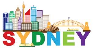 Illustrazione di vettore dell'estratto di Sydney Australia Skyline Text Colorful royalty illustrazione gratis