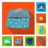 Illustrazione di vettore dell'icona di clima e del tempo Raccolta dell'icona di vettore della nuvola e del tempo per le azione royalty illustrazione gratis