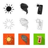Illustrazione di vettore dell'icona di clima e del tempo Raccolta dell'illustrazione di riserva di vettore della nuvola e del tem illustrazione vettoriale