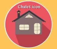 Illustrazione di vettore dell'icona del chalet Progettazione piana con lo sguardo 3D Campeggio, hotel, casa, cottage Fotografie Stock