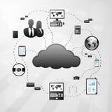 Illustrazione di vettore dell'icona del collegamento a Internet della nuvola Fotografie Stock