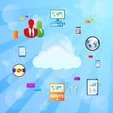 Illustrazione di vettore dell'icona del collegamento a Internet della nuvola Immagine Stock