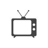 Illustrazione di vettore dell'icona della TV nello stile piano isolata sulla parte posteriore di bianco royalty illustrazione gratis