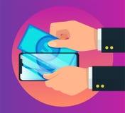Illustrazione di vettore dell'icona dello smartphone del e-portafoglio dei soldi illustrazione di stock