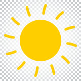 Illustrazione di vettore dell'icona di Sun Sun con il simbolo del raggio Busine semplice Immagine Stock Libera da Diritti