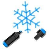 Illustrazione di vettore dell'indicatore e del fiocco di neve Immagine Stock Libera da Diritti