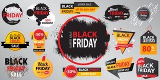 Illustrazione di vettore dell'insegna della raccolta di vendita di Black Friday con dentro Fotografia Stock Libera da Diritti