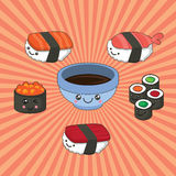 Illustrazione di vettore dell'insieme dei sushi nello stile di kawaii rotoli con il tonno, salmone, salsa di soia del caviale illustrazione di stock
