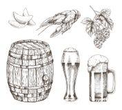 Illustrazione di vettore dell'insieme del luppolo e dello spuntino della birra in fusto illustrazione vettoriale