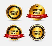 Illustrazione di vettore dell'insieme di etichetta di prezzi più bassi Immagini Stock