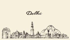 Illustrazione di vettore dell'orizzonte di Delhi disegnata a mano illustrazione vettoriale
