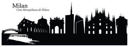 Illustrazione di vettore dell'orizzonte di paesaggio urbano di Milano Fotografia Stock Libera da Diritti