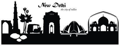 Illustrazione di vettore dell'orizzonte di paesaggio urbano di Nuova Delhi royalty illustrazione gratis
