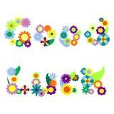 Illustrazione di vettore dell'ornamento del fiore di buona fortuna, parole del fiore Fotografia Stock Libera da Diritti