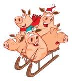 Illustrazione di vettore dell'porcellini divertenti su una slitta Personaggio dei cartoni animati royalty illustrazione gratis