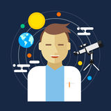 Illustrazione di vettore dell'uomo di scienze spaziali dell'astronomo Immagine Stock