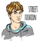 Illustrazione di vettore dell'uomo di modo hipster Modo della via Schizzo di modello dei tipi di bellezza illustrazione di stock