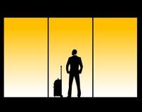 Illustrazione di vettore dell'uomo nel salotto dell'aeroporto Fotografie Stock Libere da Diritti