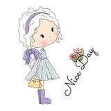Illustrazione di vettore della bambola Bella bambina con la borsa in sue mani Fotografie Stock Libere da Diritti