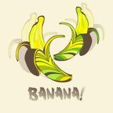 Illustrazione di vettore della banana sbucciata metà Banana in un retro stile Fotografia Stock