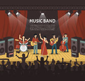 Illustrazione di vettore della banda di musica pop Fotografia Stock Libera da Diritti