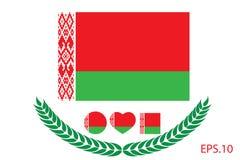 Illustrazione di vettore della bandiera della Bielorussia Bandierina del Belarus Fotografia Stock