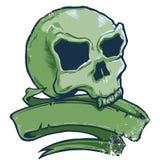 Illustrazione di vettore della bandiera del cranio di stile del tatuaggio Immagini Stock Libere da Diritti