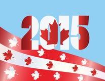 Illustrazione di vettore della bandiera di giorno 2015 del Canada Immagini Stock