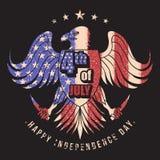 Illustrazione di vettore della bandiera di Eagle S.U.A. quarta jully illustrazione di stock