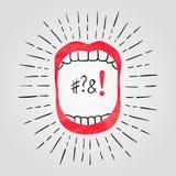 Illustrazione di vettore della bocca aperta con i denti Immagini Stock Libere da Diritti