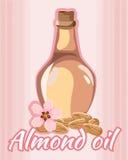 Illustrazione di vettore della bottiglia dell'olio di mandorle Fotografie Stock