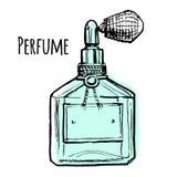 Illustrazione di vettore della bottiglia di profumo blu Immagini Stock