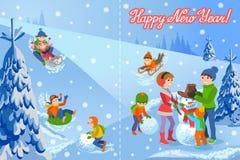 Illustrazione di vettore della carta di congratulazione del nuovo anno con la famiglia felice del paesaggio di inverno illustrazione vettoriale