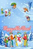 Illustrazione di vettore della carta di congratulazione del nuovo anno con la famiglia felice del paesaggio di inverno che gioca  illustrazione vettoriale