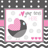 Illustrazione di vettore della cartolina d'auguri dell'uccello Immagini Stock Libere da Diritti