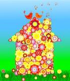 Illustrazione di vettore della casa dei fiori con il canto Immagini Stock Libere da Diritti