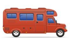 Illustrazione di vettore della casa mobile del campeggiatore di van caravan dell'automobile Immagine Stock Libera da Diritti