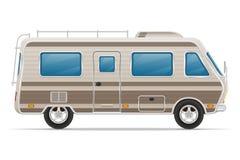 Illustrazione di vettore della casa mobile del campeggiatore di van caravan dell'automobile Fotografia Stock Libera da Diritti