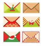 Illustrazione di vettore della cassetta delle lettere di Santa s di una lettera per Santa Claus Merry Christmas ed il buon anno N Fotografia Stock Libera da Diritti
