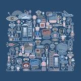 Illustrazione di vettore della città del robot Immagine Stock Libera da Diritti