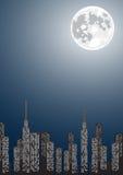 Illustrazione di vettore della città di notte con copia-spazio illustrazione di stock
