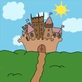 Illustrazione di vettore della collina del castello Fotografie Stock Libere da Diritti