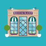 Illustrazione di vettore della costruzione del ristorante Icone della facciata Fotografia Stock Libera da Diritti