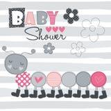 Illustrazione di vettore della doccia di bambino di Caterpillar Fotografia Stock