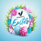 Illustrazione di vettore della festa felice di Pasqua con l'uovo dipinto, il fiore e l'erba verde su fondo blu brillante royalty illustrazione gratis