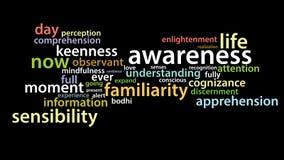 Illustrazione di vettore della foto di consapevolezza - definizione con il messaggio misto di parole - manifesto di istruzione Immagine Stock Libera da Diritti