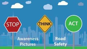 Illustrazione di vettore della foto di consapevolezza - messaggio di sicurezza stradale - manifesto di istruzione dei bambini Fotografia Stock