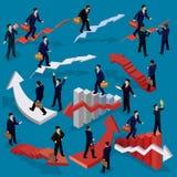 Illustrazione di vettore della gente isometrica piana 3D Concetto di crescita di affari, scala di carriera, il percorso a success Fotografia Stock Libera da Diritti