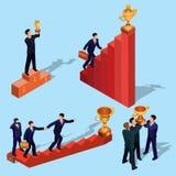 Illustrazione di vettore della gente isometrica piana 3D Concetto di crescita di affari, scala di carriera, il percorso a success Fotografia Stock