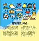Illustrazione di vettore della lista di informazioni di feste della spiaggia Icone di attributo di estate illustrazione di stock